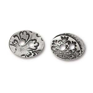 Deze Jardin Button van Tierra Cast is te koop bij kralenwinkel Limited Edition in Den Haag in de kleur antiek zilver met pewter finish.