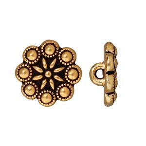 Deze Czech Rosette Button van Tierra Cast is te koop bij kralenwinkel Limited Edition in Den Haag in de kleur antiek goud.