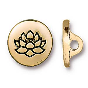 Deze Small Lotus Button van Tierra Cast is te koop bij kralenwinkel Limited Edition in Den Haag in de kleur antiek goud.