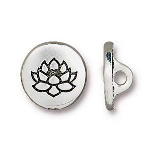 Deze Small Lotus Button van Tierra Cast is te koop bij kralenwinkel Limited Edition in Den Haag in de kleur antiek zilver.