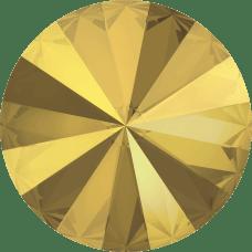 Deze ronde Rivoli steen van Swarovski heeft een puntige achterkant en is te koop bij kralenwinkel Limited Edition in Den Haag in de maat 10mm in de kleur Crystal Metallic Sunshine Foiled.