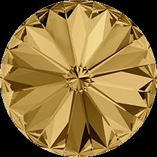 Deze ronde Rivoli steen van Swarovski heeft een puntige achterkant en is te koop bij kralenwinkel Limited Edition in Den Haag in de maat 10mm in de kleur Light Colorado Topaz Foiled.