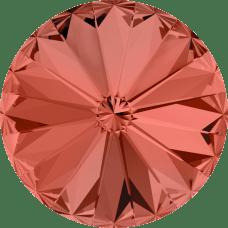 Deze ronde Rivoli steen van Swarovski heeft een puntige achterkant en is te koop bij kralenwinkel Limited Edition in Den Haag in de maat 12mm in de kleur Padparadscha Foiled.