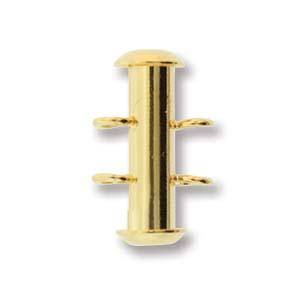 Dit magneetslot heeft twee uiteinden waaraan je strengen vast kan maken en is te koop bij kralenwinkel Limited Edition in Den Haag in de kleur goud.