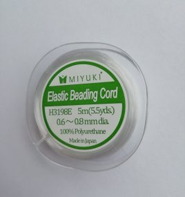 Dit Miyuki Elastic Beading cord kan gebruikt worden in projecten met kleine kraaltjes en is te koop bij kralenwinkel Limited Edition in Den Haag.