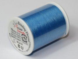 Het rijg draad van Nozue Sonoko is licht elastisch waardoor je mooie bangles kunt maken en is te koop per rol bij kralenwinkel Limited Edition Den Haag in de kleur blue.