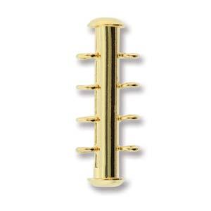 Dit magneetslot heeft vier uiteinden waaraan je strengen vast kan maken en is te koop bij kralenwinkel Limited Edition in Den Haag in de kleur goud.