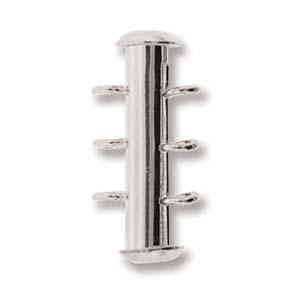 Dit magneetslot heeft drie uiteinden waaraan je strengen vast kan maken en is te koop bij kralenwinkel Limited Edition in Den Haag in de kleur zilver.