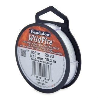 Wildfire draad van Beadalon is heel sterk en word vaak gebruikt in patronen en is te koop bij kralenwinkel Limited Edition in de dikte 0.15 in de kleur Frost.