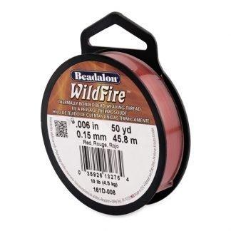 Wildfire draad van Beadalon is heel sterk en word vaak gebruikt in patronen en is te koop bij kralenwinkel Limited Edition in de dikte 0.15 in de kleur Red.