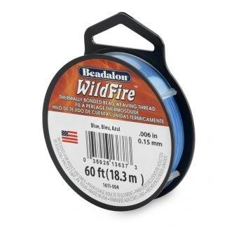 Wildfire draad van Beadalon is heel sterk en word vaak gebruikt in patronen en is te koop bij kralenwinkel Limited Edition in de dikte 0.15 in de kleur Blue.
