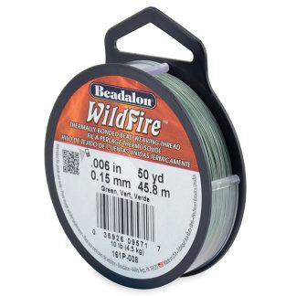Wildfire draad van Beadalon is heel sterk en word vaak gebruikt in patronen en is te koop bij kralenwinkel Limited Edition in de dikte 0.15 in de kleur Green.