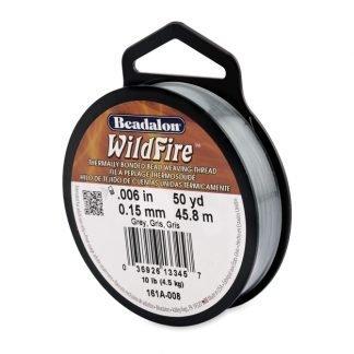 Wildfire draad van Beadalon is heel sterk en word vaak gebruikt in patronen en is te koop bij kralenwinkel Limited Edition in de dikte 0.15 in de kleur Grey.