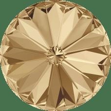 Deze ronde Rivoli steen van Swarovski heeft een puntige achterkant en is te koop bij kralenwinkel Limited Edition in Den Haag in de maat 14mm in de kleur Crystal Golden Shadow Foiled.