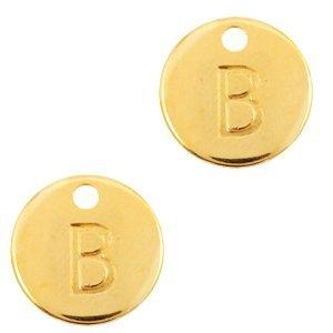 Deze Designer Quality bedel met een initiaal er op is te koop bij kralenwinkel Limited Edition in de kleur goud in de letter B.