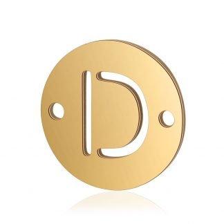Dit tussenstuk van roestvrijstaal is te koop bij kralenwinkel Limited Edition in Den Haag in de kleur goud in de vorm D.