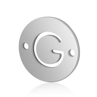 Dit tussenstuk van roestvrijstaal is te koop bij kralenwinkel Limited Edition in Den Haag in de kleur zilver in de vorm G.