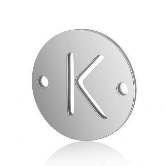 Dit tussenstuk van roestvrijstaal is te koop bij kralenwinkel Limited Edition in Den Haag in de kleur zilver in de vorm K.