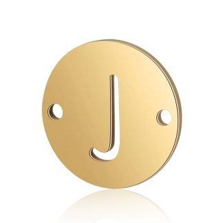 Dit tussenstuk van roestvrijstaal is te koop bij kralenwinkel Limited Edition in Den Haag in de kleur goud in de vorm J.