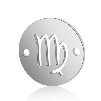 Dit tussenstuk van roestvrijstaal is te koop bij kralenwinkel Limited Edition in Den Haag in de kleur zilver in de vorm Maagd.