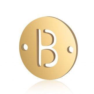 Dit tussenstuk van roestvrijstaal is te koop bij kralenwinkel Limited Edition in Den Haag in de kleur goud in de vorm B.