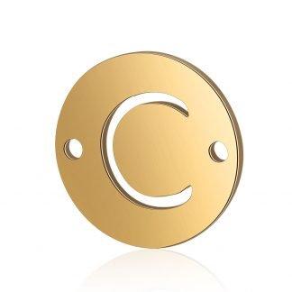 Dit tussenstuk van roestvrijstaal is te koop bij kralenwinkel Limited Edition in Den Haag in de kleur goud in de vorm C.