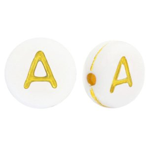 Deze wit gouden acryl letter kralen zijn te koop bij kralenwinkel Limited Edition in Den Haag in de vorm van een a.