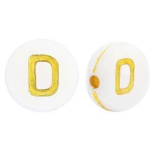 Deze wit gouden acryl letter kralen zijn te koop bij kralenwinkel Limited Edition in Den Haag in de vorm van een d.