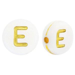 Deze wit gouden acryl letter kralen zijn te koop bij kralenwinkel Limited Edition in Den Haag in de vorm van een e.