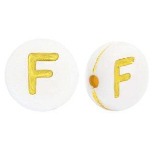 Deze wit gouden acryl letter kralen zijn te koop bij kralenwinkel Limited Edition in Den Haag in de vorm van een f.