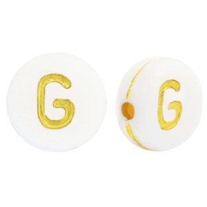 Deze wit gouden acryl letter kralen zijn te koop bij kralenwinkel Limited Edition in Den Haag in de vorm van een g.