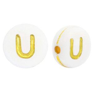 Deze wit gouden acryl letter kralen zijn te koop bij kralenwinkel Limited Edition in Den Haag in de vorm van een u.