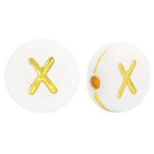 Deze wit gouden acryl letter kralen zijn te koop bij kralenwinkel Limited Edition in Den Haag in de vorm van een x.