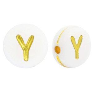 Deze wit gouden acryl letter kralen zijn te koop bij kralenwinkel Limited Edition in Den Haag in de vorm van een y.