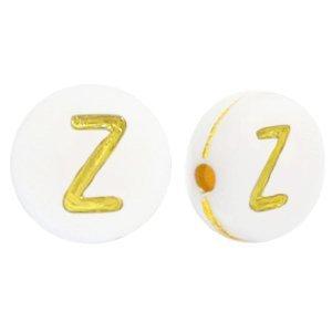 Deze wit gouden acryl letter kralen zijn te koop bij kralenwinkel Limited Edition in Den Haag in de vorm van een z.