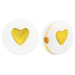 Deze wit gouden acryl letter kralen zijn te koop bij kralenwinkel Limited Edition in Den Haag in de vorm van een hartje.