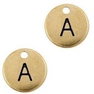Deze Designer Quality bedel met een initiaal er op is te koop bij kralenwinkel Limited Edition in de kleur antiek brons in de letter A.