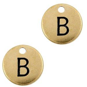 Deze Designer Quality bedel met een initiaal er op is te koop bij kralenwinkel Limited Edition in de kleur antiek brons in de letter B.