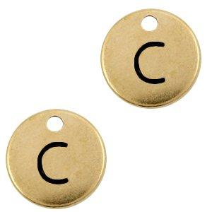 Deze Designer Quality bedel met een initiaal er op is te koop bij kralenwinkel Limited Edition in de kleur antiek brons in de letter C.