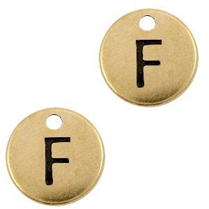 Deze Designer Quality bedel met een initiaal er op is te koop bij kralenwinkel Limited Edition in de kleur antiek brons in de letter F.