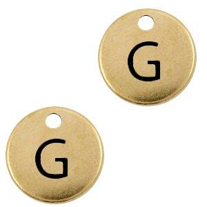 Deze Designer Quality bedel met een initiaal er op is te koop bij kralenwinkel Limited Edition in de kleur antiek brons in de letter G.