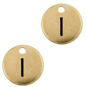 Deze Designer Quality bedel met een initiaal er op is te koop bij kralenwinkel Limited Edition in de kleur antiek brons in de letter I.