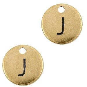 Deze Designer Quality bedel met een initiaal er op is te koop bij kralenwinkel Limited Edition in de kleur antiek brons in de letter J.