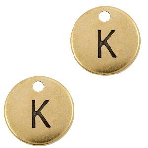 Deze Designer Quality bedel met een initiaal er op is te koop bij kralenwinkel Limited Edition in de kleur antiek brons in de letter K.