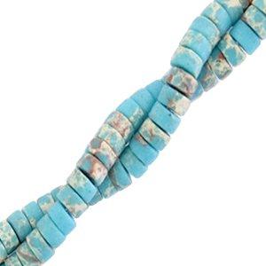Deze natuursteen kralen zijn 4mm en te koop bij kralenwinkel Limited Edition in Den Haag in de kleur cyaan blauw marmer.
