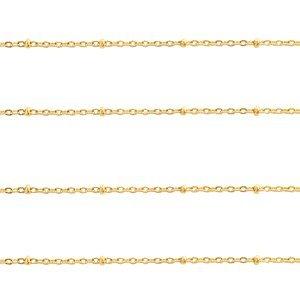 Deze RVS sateliet jasseron ketting is te koop bij kralenwinkel Limited Edition in Den Haag in de maat 1.4mm in de kleur goud.