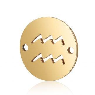 Dit tussenstuk van roestvrijstaal is te koop bij kralenwinkel Limited Edition in Den Haag in de kleur goud in de vorm Waterman.