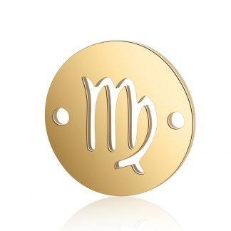 Dit tussenstuk van roestvrijstaal is te koop bij kralenwinkel Limited Edition in Den Haag in de kleur goud in de vorm Maagd.