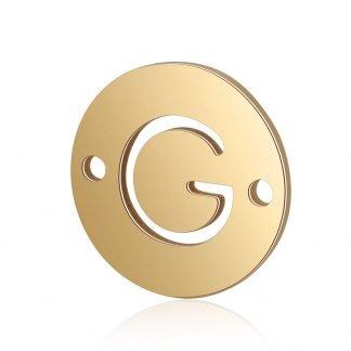 Dit tussenstuk van roestvrijstaal is te koop bij kralenwinkel Limited Edition in Den Haag in de kleur goud in de vorm G.
