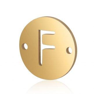 Dit tussenstuk van roestvrijstaal is te koop bij kralenwinkel Limited Edition in Den Haag in de kleur goud in de vorm F.